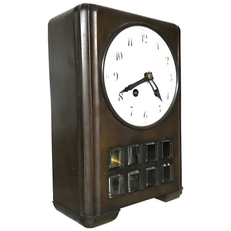 Art Deco / Jugendstil Bronze Table or Mantel Clock by Lenzkirch / 'C.Kühling'