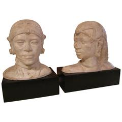 Plaster and Wooden Bass Pair of Busts, 20th Century