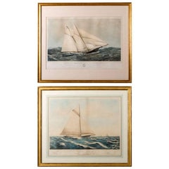 Near Pair of 19th Century Painted Lithographs of Yachts