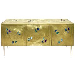 Italian Contemporary Fine Design Brass Cabinet with Blue Green Purple Agate