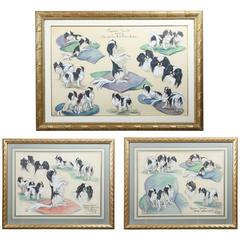 Three Framed Crayon and Pastel Pictures, Japanese Spaniels, Lillian Tiffany, Set