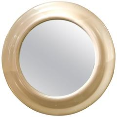 American Mid-Century Large Carl Springer Style Ivory Round Mirror