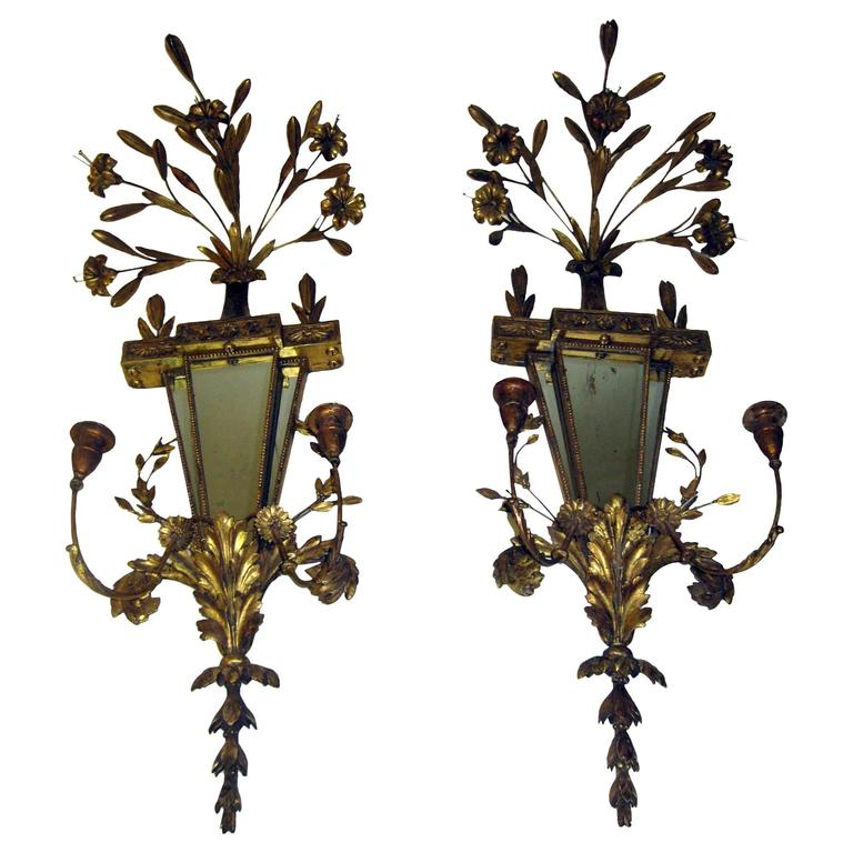 19th Century Italian Gilt Wood Wall Sconces of Monumental Size For Sale