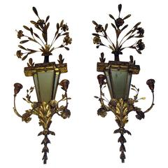 19th Century Italian Gilt Wood Wall Sconces of Monumental Size
