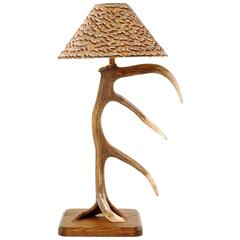 Antler One Table Lamp with Partridge Feather Lamp Shade