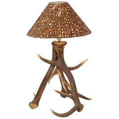 Three Antlers Table Lamp with Partridge Feather Lamp Shade