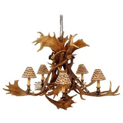 Reindeer Master Chandelier with Five Partridge Feather Shades