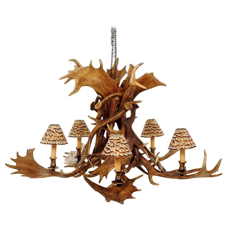 Reindeer Master Chandelier with Five Partridge Feather Shades For Sale