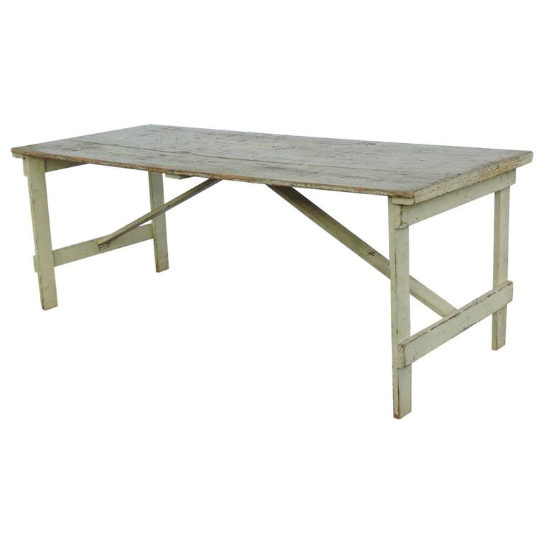 Collapsible leg rustic farm table in old pale yellow paint for Yellow farmhouse table