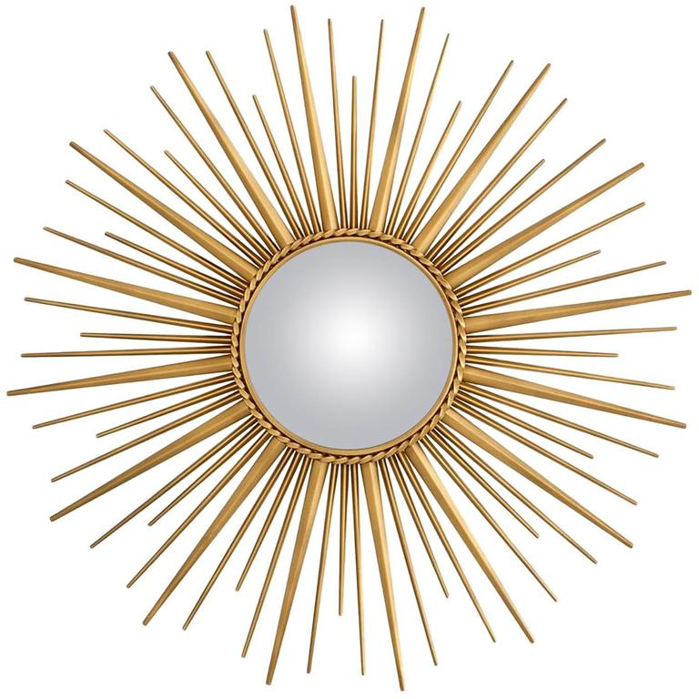 b74af11aa250 Sun Mirror in Antique Gold Finish and Convex Mirror For Sale at 1stdibs