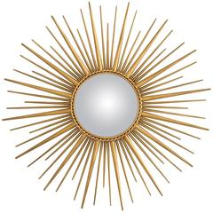 Sun Mirror in Antique Gold Finish and Convex Mirror