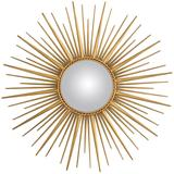 Sun Mirror in Antique Gold Finish and Convex Mirror
