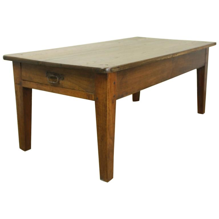 Antique Oak Coffee Table With One Drawer For
