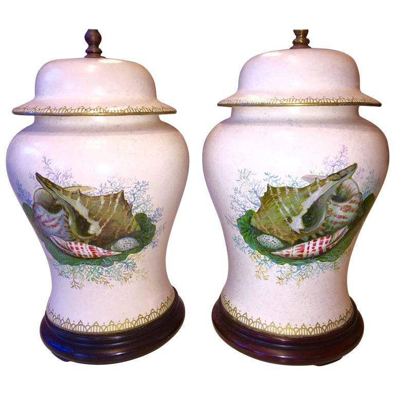 Pair of American Hand-Painted with Shells Porcelain Temple Jar Lamps