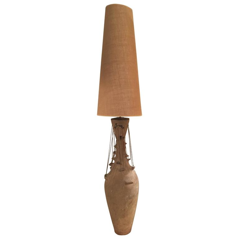Monumental and Unique Studio Pottery 1960s Lamp