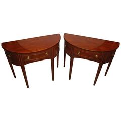 Pair of Baker Inlaid Demilune Consoles or Serving Tables