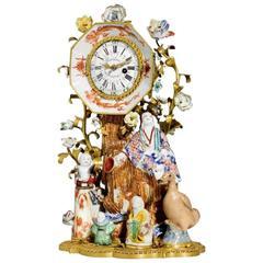 """Porcelain Clock """"Aux Chinois"""", Louis XV, 1750-1760"""