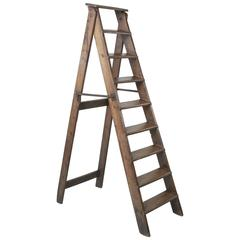20th Century Artisan Made Folding Oak Library Ladder with Hand Forged Iron Hooks