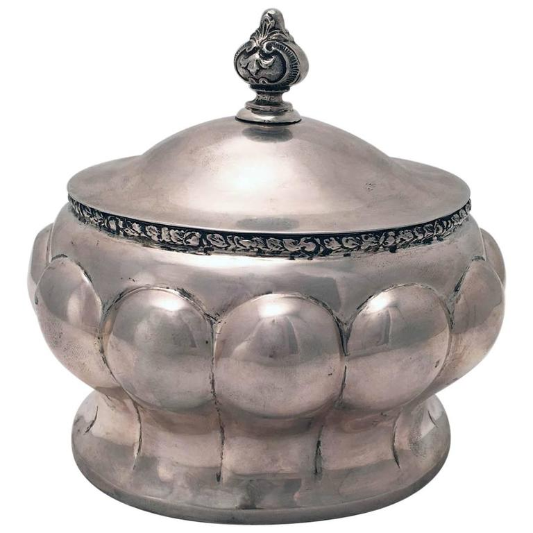 Austrian Secessionist Silver Sugar or Etrog Box For Sale