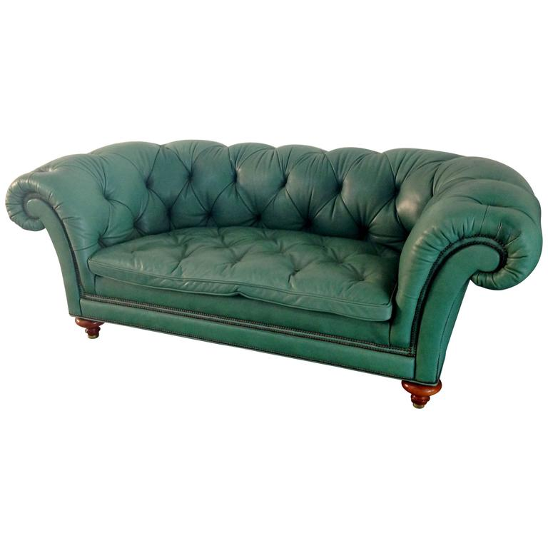 English Green Vintage Leather Chesterfied Sofa For Sale At 1stdibs