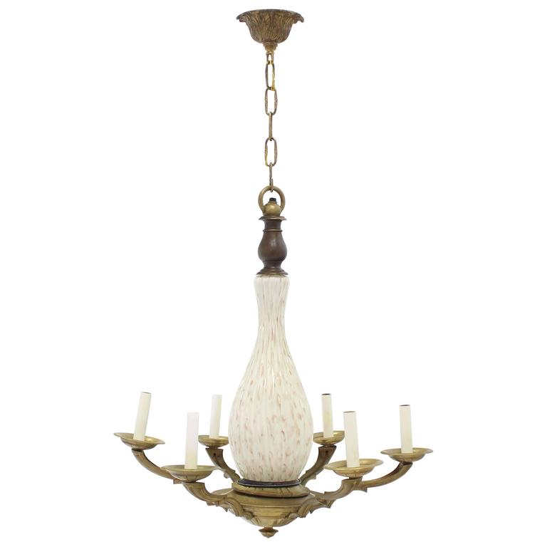 Brass and Murano Glass 6 Arms Light Fixture Chandelier For Sale