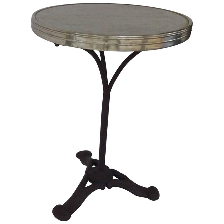Marble Bistro Accent Table: French Gilt-Metal Mounted Marble And Cast-Iron Bistro