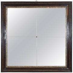 Italian Baroque Ebonized Walnut and Silver Gilt Frame with Four-Piece Mirror