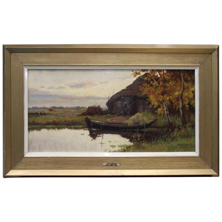 Maurits de Groot, Waterscape with Boat and Building Oil on Canvas For Sale