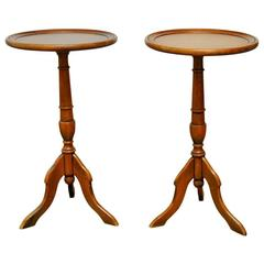 Pair of Italian Mahogany Tripod Drink Tables
