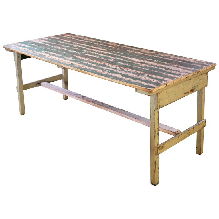 Vintage Rustic Farm Distressed Folding Dining Work Table Painted Wood Industrial For Sale