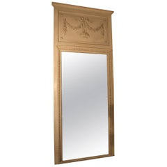 French Louis XVI Style Trumeau Mirror with a Painted Finish