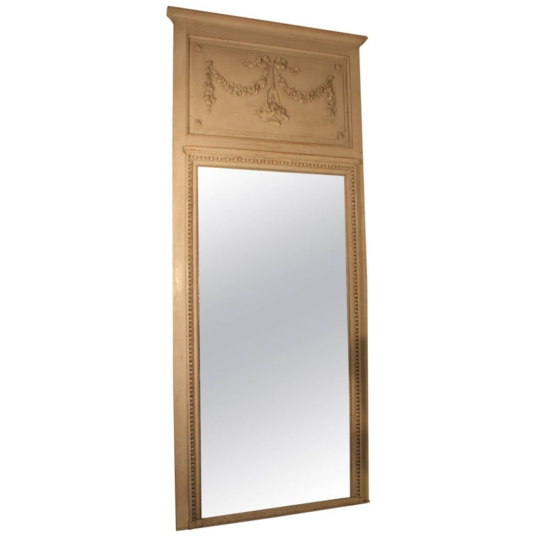 French Louis XVI Style Trumeau Mirror with a Painted Finish For Sale