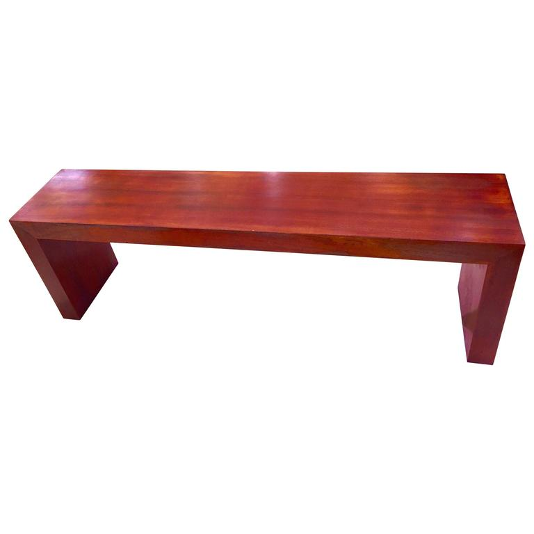 American Mid-Century Solid Mahogany Bench For Sale