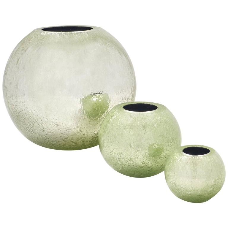Murano Glass Pulegoso Set Of Vases At 1stdibs