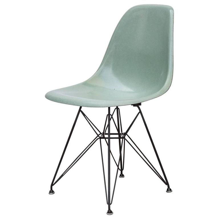 Eames Seafoam Fiberglass Chair On Black Eiffel Base 1