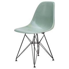 Eames Sea Foam Fiberglass Chair on Black Eiffel Base