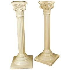 English Creamware Candlesticks