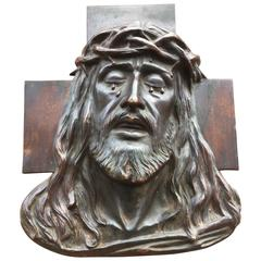 Early 1900 Art Deco Religious Bronze Wall Plaque in Relief Suffering of Christ