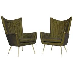 Italian Lounge Chairs in Original Green Horsehair Fabric on Brass Legs