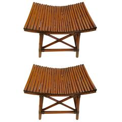 Pair of American Mid-Century Thebes Type Rattan Style Benches