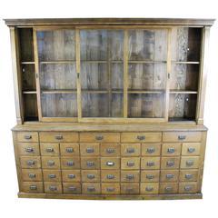 1900 Oak Mercantile Apothecary Cabinet
