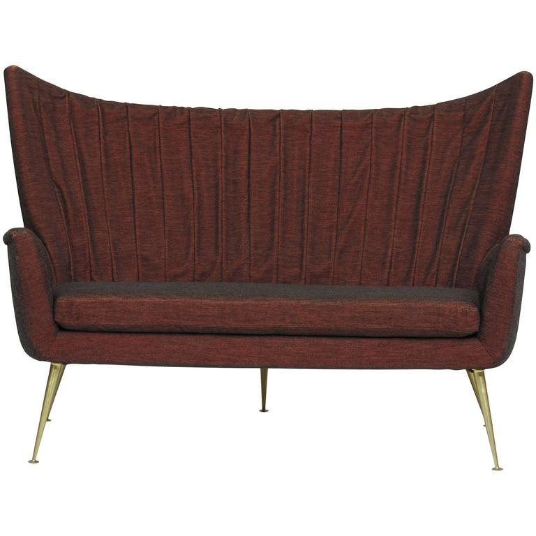 Italian Midcentury Settee in Burgundy Red Horsehair Fabric on Brass Legs 1
