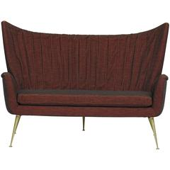 Italian Midcentury Settee in Burgundy Red Horsehair Fabric on Brass Legs