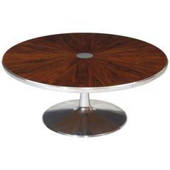Steen Ostergaard for Poul Cadovius Chrome Pedestal Rosewood Coffee Table