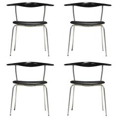 Hans Wegner Pp701 Bull Horn Dining Chairs in Black Lacquer, Leather and Steel
