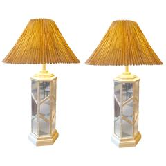 Pair of American Bamboo Mirrored Trellis Column Lamps, circa 1920