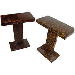 J.Charles Pair of Faux Tortoise Shell Small Smokers or End Tables
