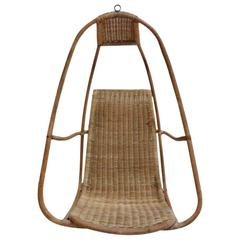 Massive Sculptural French Bamboo and Rattan Hanging Chair