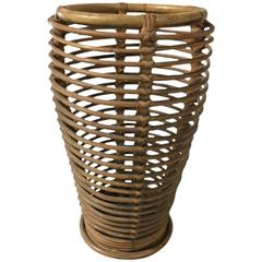 French Rattan and Bamboo Umbrella Stand
