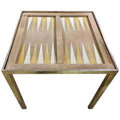 Vintage Chrome and Suede Backgammon Table by Milo Baughman